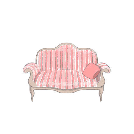 Sofa or couch with pillow hand-drawn vintage style colorful cartoon illustration vector. Illustration