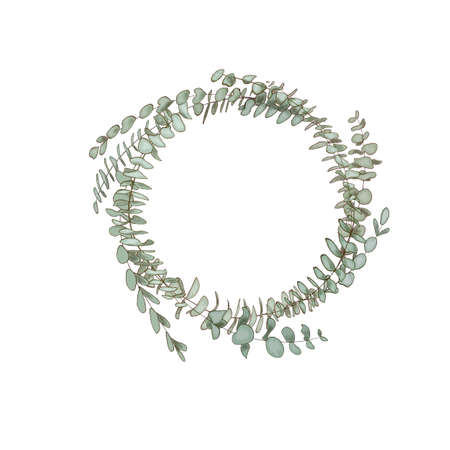 eucalyptus wreath. Healing Herbs for cards, wedding invitation, posters, save the date or greeting design.
