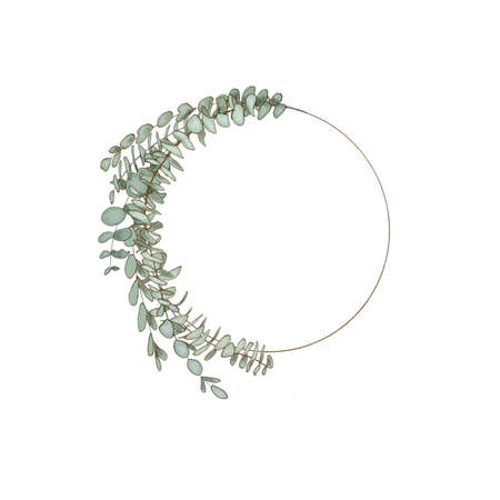 eucalyptus wreath garland. Healing Herbs for cards, wedding invitation, posters, save the date or greeting design.