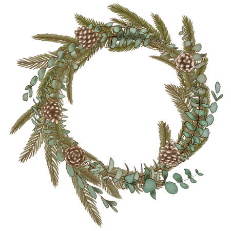 Hand drawn wreath with fir, pine and eucalyptus branches with cones. Round frame