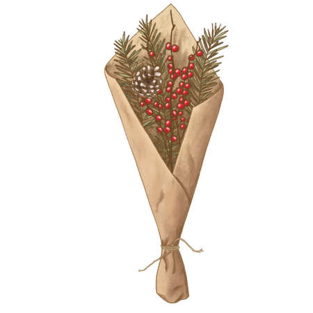 fir branch and cone, rowan berries bouquet in craft paper, twig with cone in wrapping paper Banque d'images