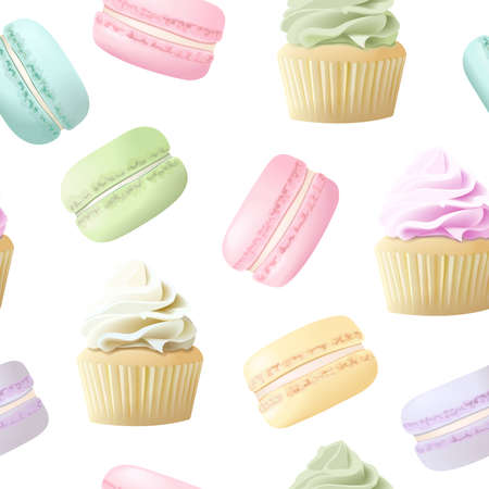 Delicious macaroons and cakes seamless pattern. Sweet almond french cakes macaron. Blue, rose, yellow, purple