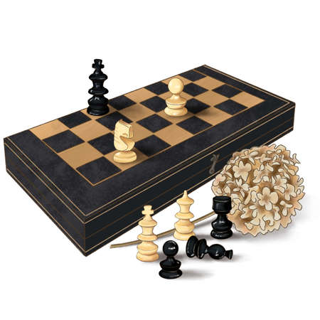 Wooden Chess board with chess wooden pieces isolated on white Banque d'images