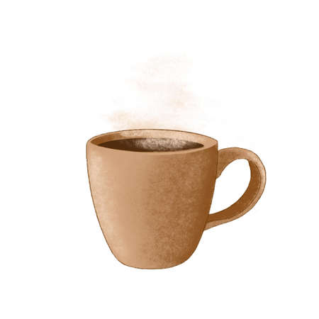 ceramic cup of coffee, tea or chocolate, Streaming. hot drink white background, dark academia