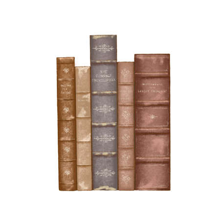 stack of Old books isolated on white. book shelf, book row. dark academia,