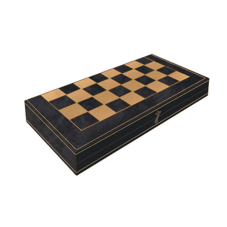 Wooden Chess board isolated on white. side view.. Game, hobby, gambit