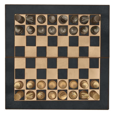 Wooden Chess board with chess wooden pieces isolated on white. top view.