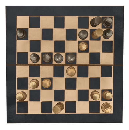 Old wooden chess board isolated, clipping path. Banque d'images