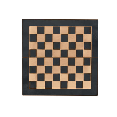 Wooden Chess empty board with chess wooden pieces isolated on white. top view.