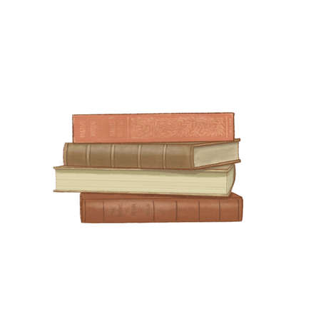 stack of Old books isolated on white. book heap, book pile. dark academia,