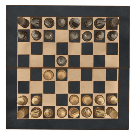 Wooden Chess board with chess wooden pieces isolated on white. top view. chess game. bishop, king, queens gambit, Banque d'images