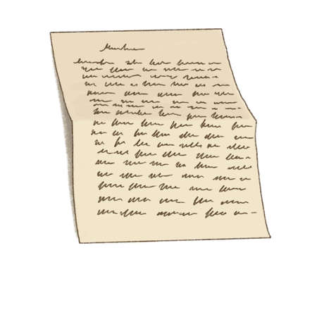 List of paper with handwriting. Handwritten letter. Old fashioned letter. Calligraphy. Banque d'images