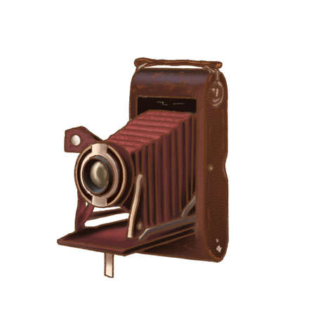 Antique Old photo Camera, vintage picture camera, dark academia, lenses, brown leather case, hand drawn illustration