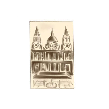 Old postcard or photo or picture, painting. Dome, church, cafedral image, hand drawn sketch style.