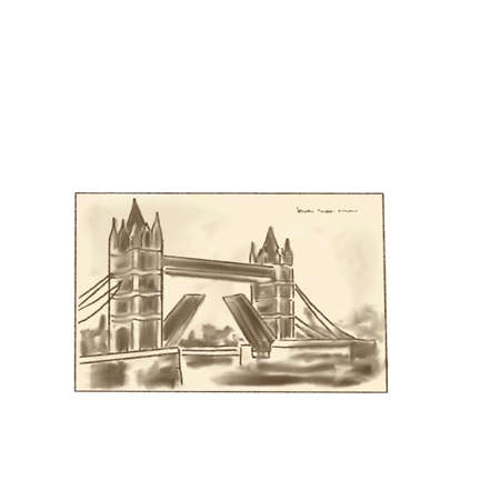 Old postcard or photo or picture, painting. London bridge tower image, hand drawn sketch style