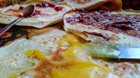 sweet pancake with honey and sweet wild strawberries and chocolate