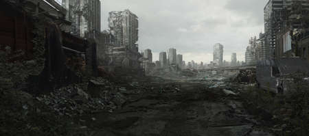 A city ravaged by war and conflict lays in ruins.