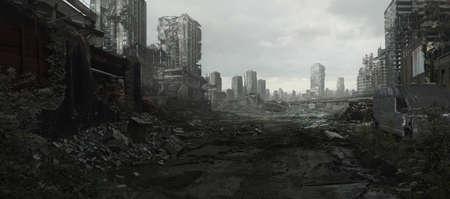 Una ciudad devastada por la guerra y el conflicto está en ruinas. Foto de archivo