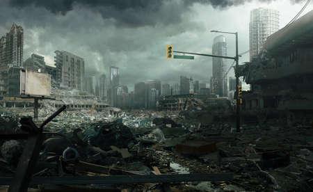Ville en ruines après un tremblement de terre ou une catastrophe naturelle. Banque d'images