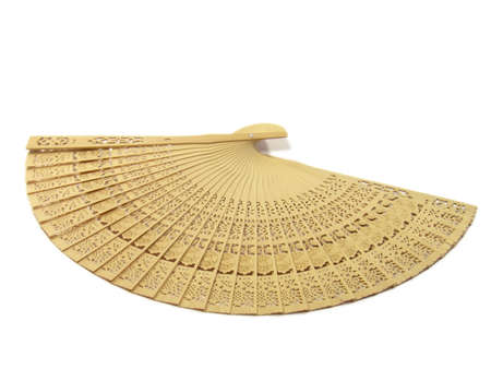 Wooden hand fan isolated on a white background.