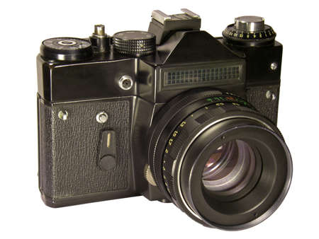 Old Soviet camera isolated on a white background.