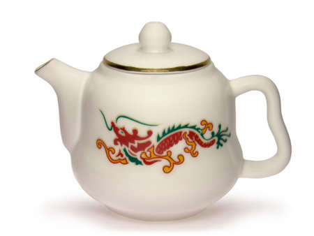 White chinese teapot with red dragon picture isolated on white background.