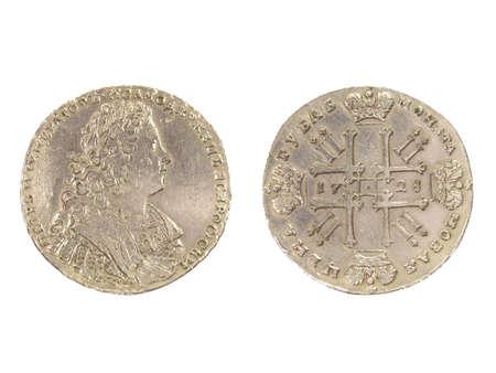 Antique silver coin of 1728. Stock Photo