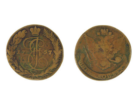 Antique copper coin of 1767. Stock Photo