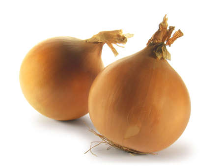 Two onions isolated on white background. Stock Photo