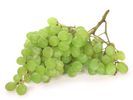Green grape isolated on white background. Stock Photo