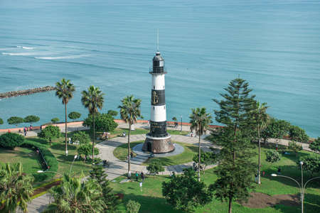 Lighthouse on the sea, Maritime view of Lima Miraflores