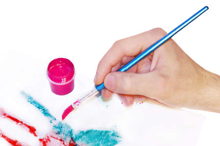 Hand with brush painting artist  Stock Photo