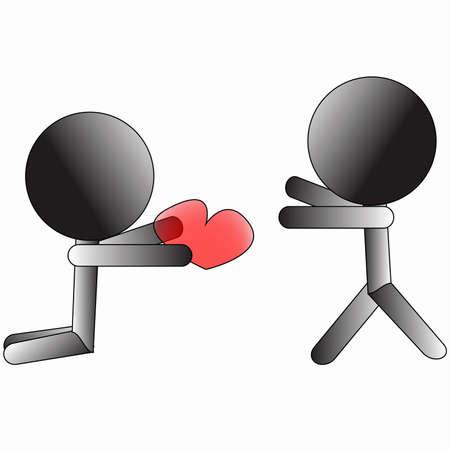 unrequited love: S�mbolo persona dando coraz�n a amar a otra persona signo conceptual Vectores