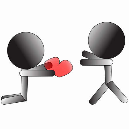 Symbol person giving heart to other person love conceptual sign