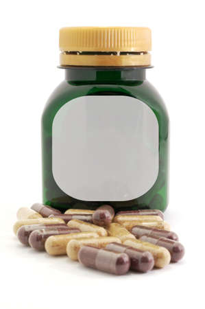 Capsules Pills medicine and bottle Stock Photo - 12807163
