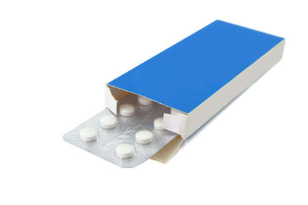 Pills tablets in open package on white background Stock Photo