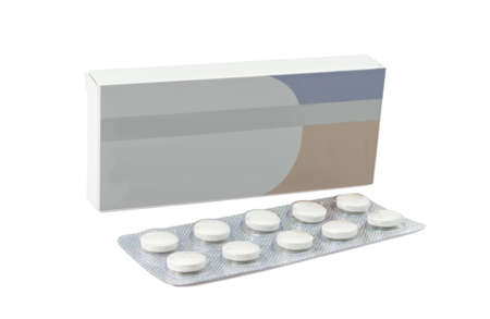 pill box: Pills antibiotics tablets on white background
