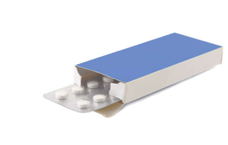 Pills vitamin in package carton on white background Stock Photo