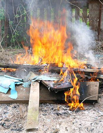 defilement: Flame Fire burning litter in city illegal