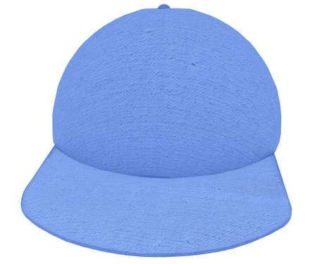 peaked cap: Cloth Cap 3d render blue textured cotton on white background Stock Photo