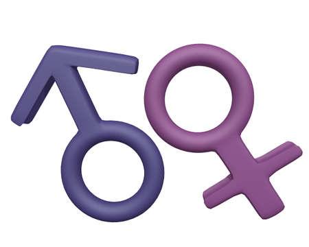 Male and Female Symbols 3d render on white background