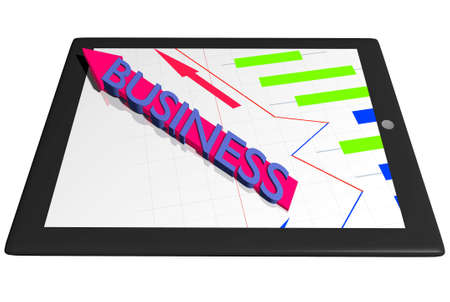 Tablet PC with graph diagram and Business arrow indicator finance concept Stock Photo - 13483311