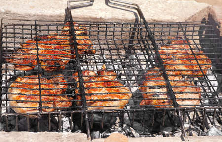 carcass meat: Grilled Meat preparing barbecue fresh food