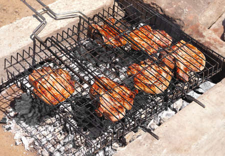 carcass meat: Meat barbecue Grilling on charcoal summer