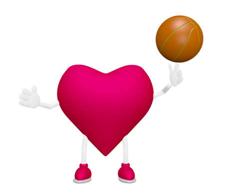 Heart training with basketball heart health sport concept on white background Stock Photo - 13638543