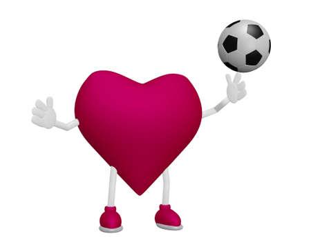 myocardium: Heart training football heart health sport concept on white background