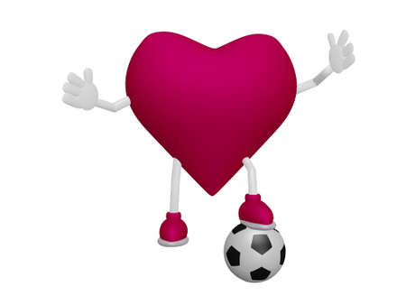 myocardium: Heart playing football heart health sport concept on white background Stock Photo