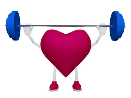 myocardium: Heart training weight heart health sport concept on white background Stock Photo