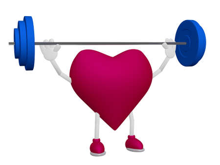 myocardium: Heart health training weight sport concept on white background Stock Photo