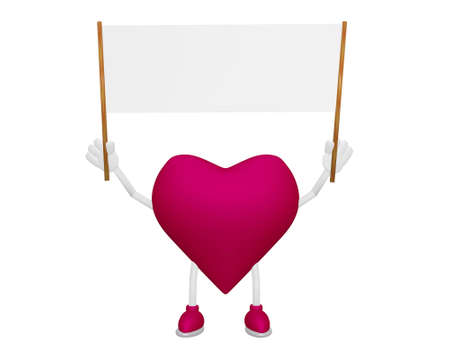 myocardium: Heart character with Billboard blank streamer on white background 3d